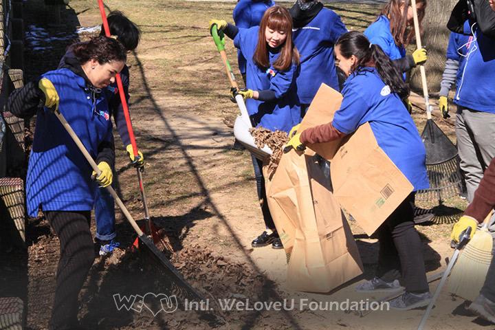 Volunteers gathering leaves in Tarken Park, PA