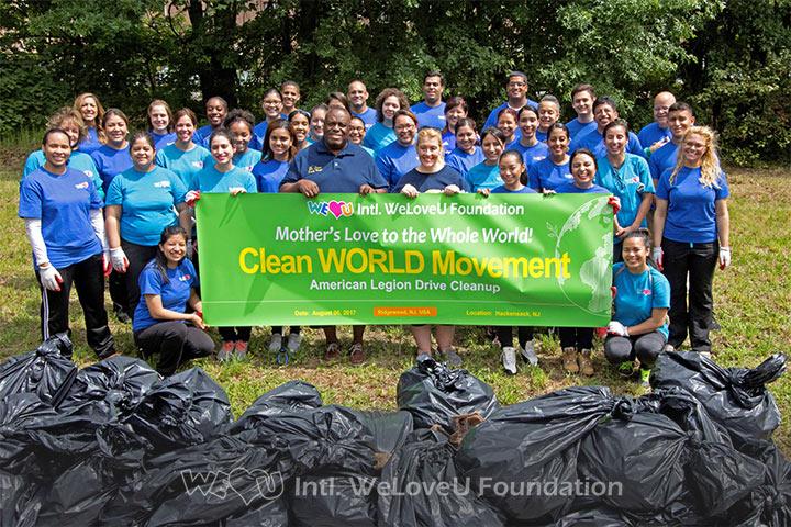 WeLoveU volunteers clean American Legion Drive in Hackensack, NJ.