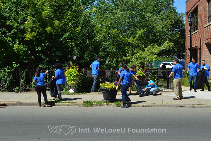 WeLoveU volunteers conduct a summer street cleanup in Leominster, MA.