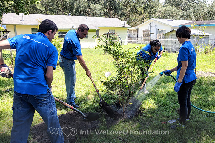 WeLoveU volunteers plant trees in Gainesville Community Garden in Central Florida.