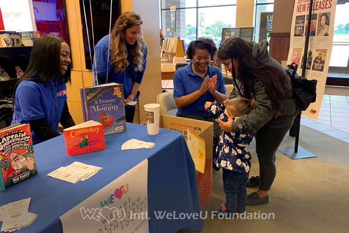 Families donate to WeLoveU's book drive for Christiana Care