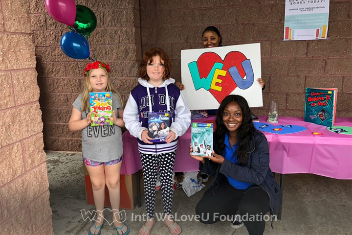 Kids donate to WeLoveU's book drive for Christiana Care Hospital