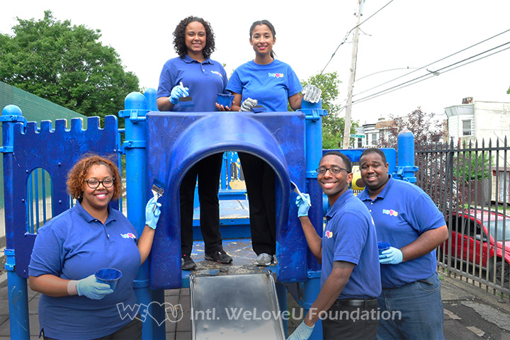 WeLoveU volunteers clean McVeigh Recreation Center and remove graffiti.