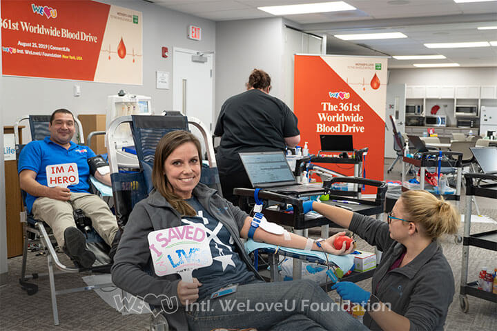 A Buffalo-native participating in WeLoveU's blood drive to save a life.
