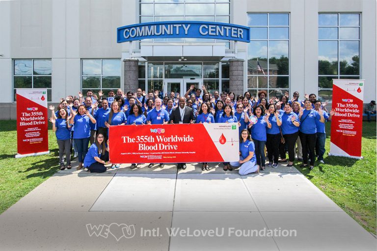 group photo, weloveu, blood donation, robert wood johnson university hospital