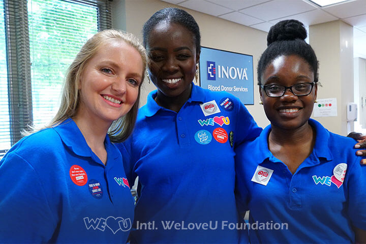 Smiling volunteers, blood donors, worldwide blood drive, WeLoveU, Inova Blood Donor Services