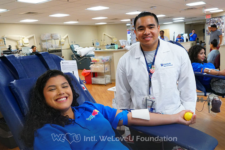 WeLoveU Foundation, Inova Blood Services, Phlebotomist, Volunteer, Blood Drive, Worldwide blood drive