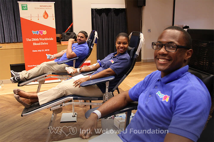 Three WeLoveU volunteers participating in the 2019 Worldwide Blood Drive Movement