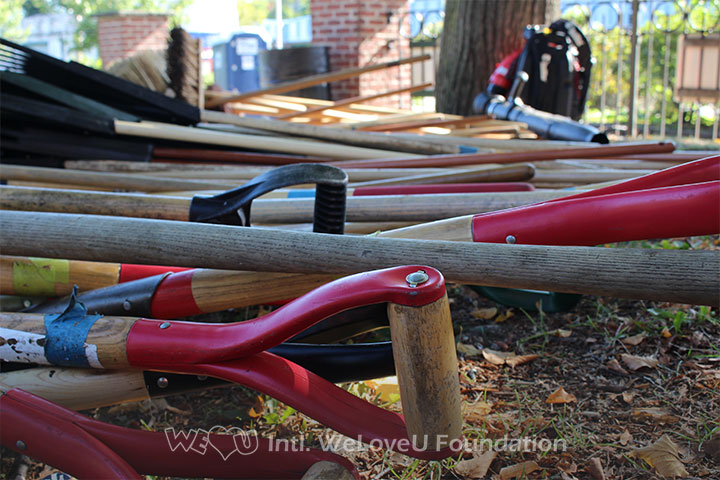 shovels, rakes, equipment, tools, cleaning