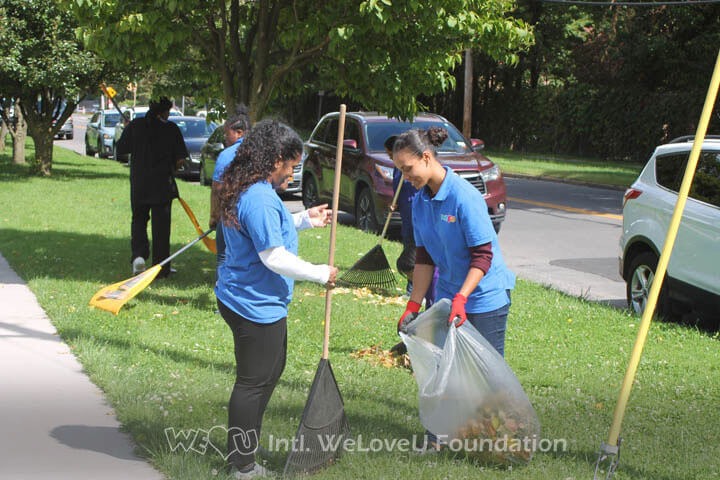 raking leaves, community service, comfort tyler park