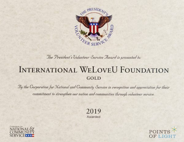 Volunteer Service Award presented to the WeLoveU Foundation in 2019
